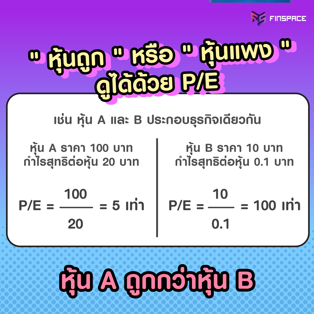 ใช้ P/E ดูหุ้นราคาสูง หุ้นราคาต่ำ