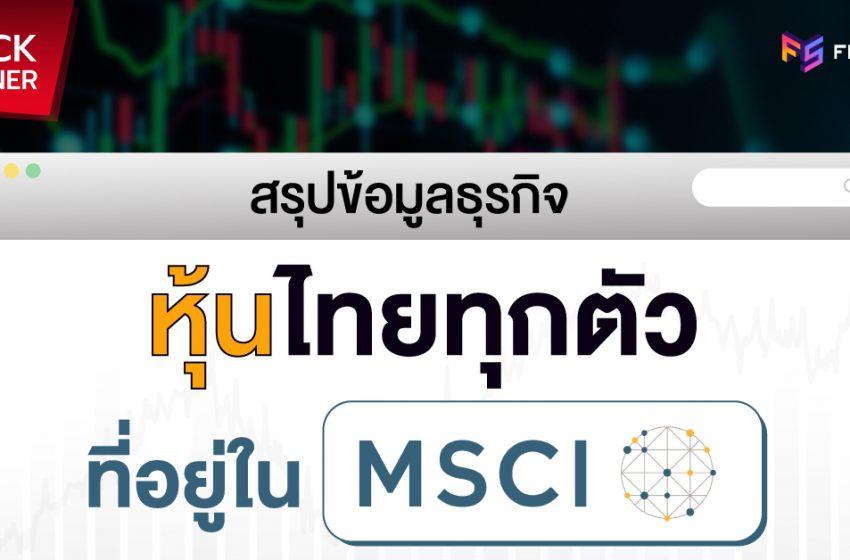 สรุปข้อมูลธุรกิจรายชื่อหุ้นใน MSCI thailand